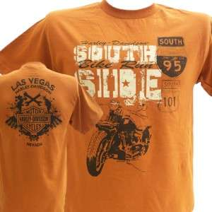 Harley Davidson Las Vegas Dealer Tee T Shirt ORANGE LARGE #BRAVA1
