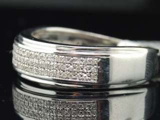 MENS WHITE GOLD FINISH .35 CT DIAMOND WEDDING BAND RING