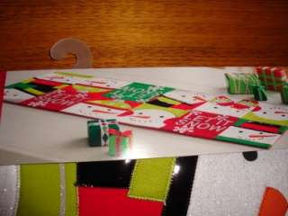CHRISTMAS TABLE RUNNER 36 Red White Green Snowman