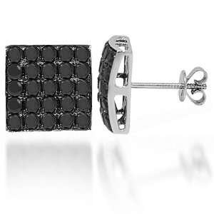 14K White Gold Black Diamond Stud Earrings 3.75 Ctw