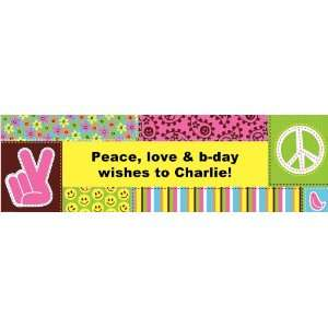 Peace and Love Personalized Birthday Banner Medium 24 x