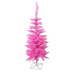 3 Pre Lit Pink Ashley Spruce Artificial Christmas Tree
