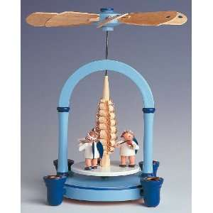 Blue Christmas Pyramid with Angels & Tree   1 Tier Candleholder