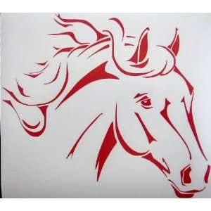 Lrg Red Western Stock Quarter Horse Car Window Decal Automotive