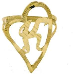 LADIES 10K YELLOW GOLD HEART LOVE INITIAL RING K LETTER