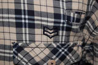 English Laundry PEOPLES ARMY LONG SLEEVE TAN NAVY BLUE PLAID SHIRT