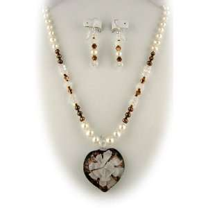 Murano Glass White Flower Heart Pendant Freshwater Pearls Sterling