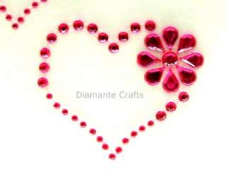HOT PINK diamante HEART & FLOWER rhinestone VAJAZZLE
