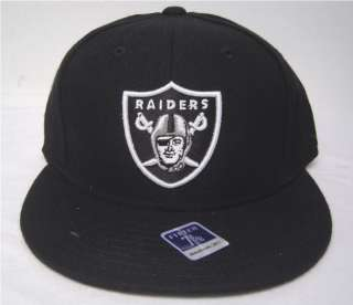 Blk Oakland Raiders Flatbill Fitted Cap Red Wt Blue NFL