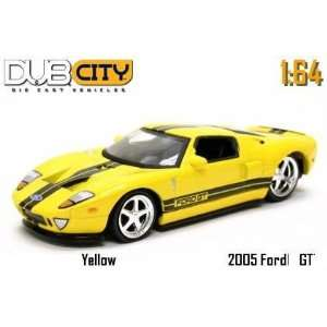 Jada Dub City Yellow 2005 Ford GT with Black Stripes 164