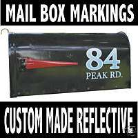 Mailbox Numbers & Name REFLECTIVE Vinyl Decals CUSTOM