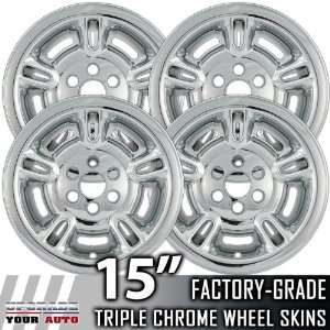 98 99 DODGE DURANGO 15 Chrome Wheel Skin Covers Automotive