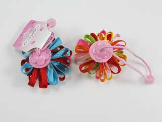 Pairs Baby girl kids Grosgrain ribbon Hair bow clips