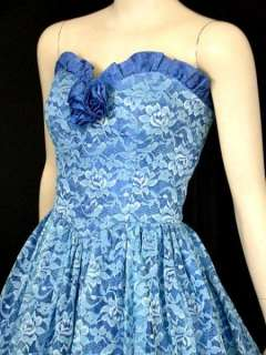 VTG Strapless Blue Lace Southern BELLE Party Ball Gown Dress S