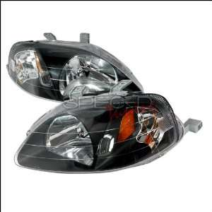 Honda Civic 1999 2000 Euro Headlights   Black Smoke