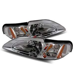 94 98 Ford Mustang Headlights   Chrome Automotive