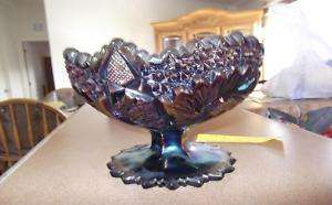 Fenton Carnival glass short compote bowl