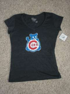 5th & Ocean Chicago Cubs Womens V Neck T Shirt Gray L