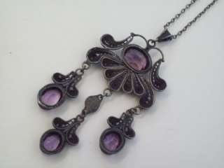 ANTIQUE VINTAGE ART DECO STERLING SILVER 10CT AMETHYST DANGLE DROP