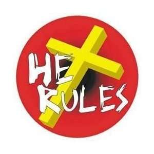 TM Bishop   He Rules Holy Cross   Sticker / Decal