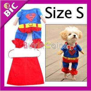 New Blue Red Puppy Pet Dog Clothes Costumes Superman Apparel T Shirt