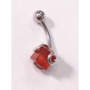 Orange Red Cube Gem Belly Ring