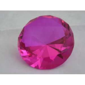 Pink Crystal Glass Diamond Shaped Paperweight 2.25