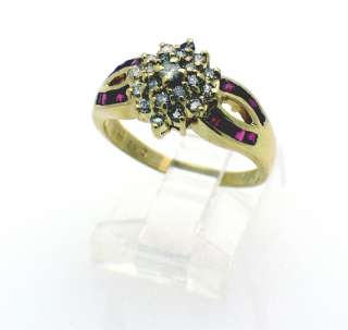 Estate 10k yellow Gold Custer Diamond Ruby Ring size 8