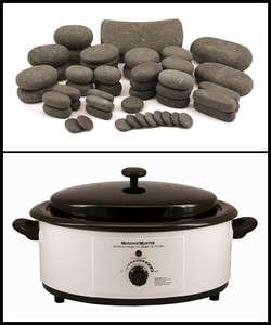 HOT STONE MASSAGE KIT 54 Basalt Stones 6 Quart Heater