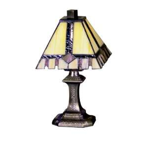 Castle Cut Mini Table Lamp, Antique Bronze and Art Glass Shade Home