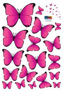 PINK BUTTERFLY WALL PAPER DECAL REMOVABLE STICKERS #252