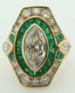 Ladies Estate 18K Yellow Gold Diamond & Emerald Ring