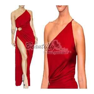 Red One shoulder Long Formal Prom Gown Evening Party Women Dress