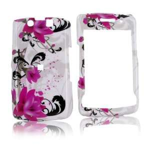 For Blackberry Storm 2 9550 Hard Case Pink Flowers Whit
