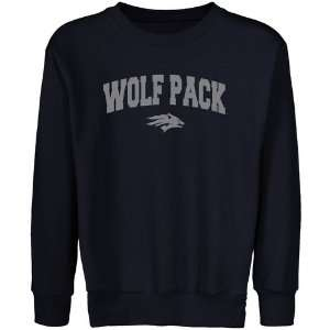 Nevada Wolf Pack Youth Navy Blue Logo Arch Crew Neck