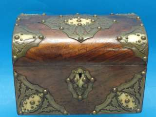 ANTIQUE 19 c ENGLISH BURL WOOD TEA CADDY WITH BRASS WORK & INLAID OX