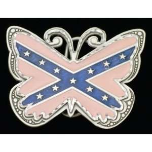 Pink Butterfly Confederate Belt Buckle
