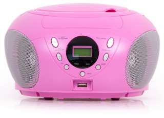 Kinder Boomblaster CD Player Radio Spieler USB  rosa