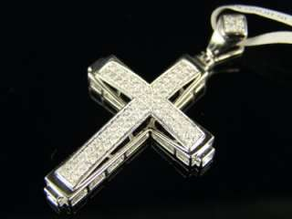 14K MENS WHITE GOLD PAVE DIAMOND CROSS PENDANT 3/4 CT
