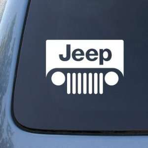 JEEP LOGO(grill style)   6 WHITE DECAL   Car, Truck, Notebook, Vinyl