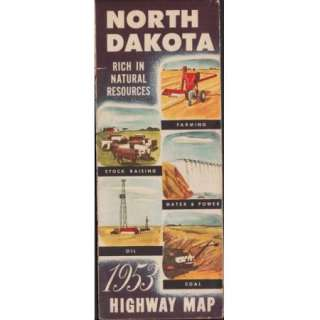 North Dakota Highway Map   Vintage State Map   Natural Resources Cover