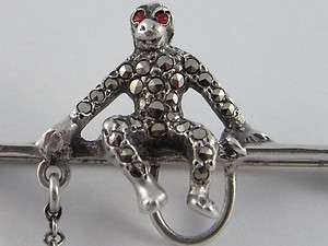 Antique Art Deco Sterling Silver Marcasite Monkeys Brooch 1920s