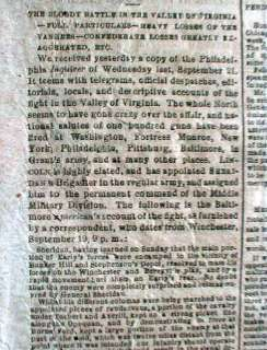 Civil War newspaper BATTLE o WINCHESTER Virginia SHERIDAN Early
