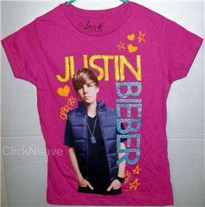 Justin Bieber Girls Fuschia Glitter Photo T Shirt   NEW