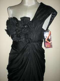 NWT Adrianna Papell Black Red Carpet One Shoulder Chiffon Gown 6