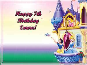 DISNEY PRINCESS Edible CAKE Icing Image Topper Birthday