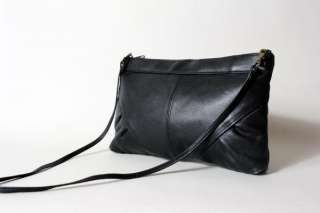 Vtg 90s AMAZING Black Soft Leather Con Clutch Bag Purse