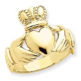 14 KARAT SOLID YELLOW GOLD MENS CLADDAGH RING