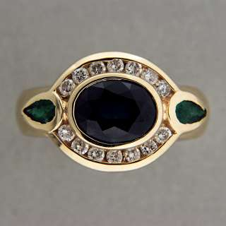 BEZEL SET 2.25CT OVAL BLUE SAPPHIRE PEAR EMERALD DIAMOND NO PRONGS 14K