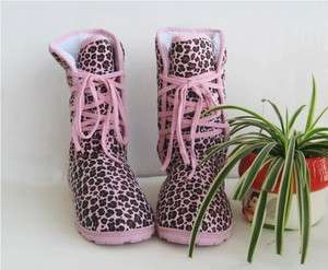 Womens Leopard Lace Up Winter Snow Boots Warm Shoes US 2 Sizes Pink